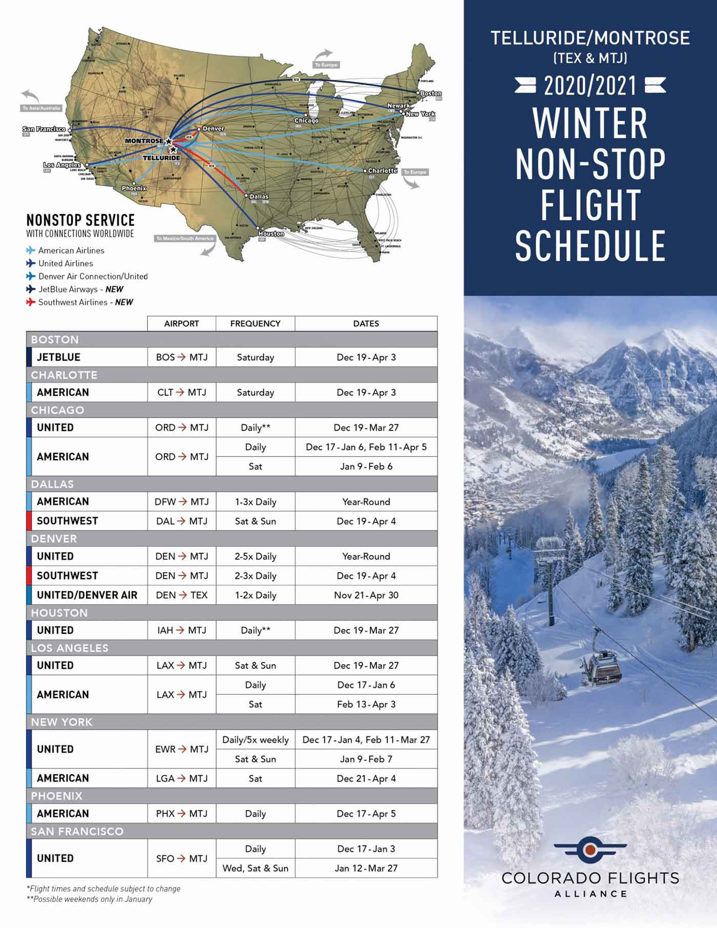 CFA Flight Schedule 2020